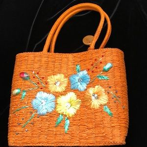 Belmar New York Vintage Rafia Straw Orange Purse